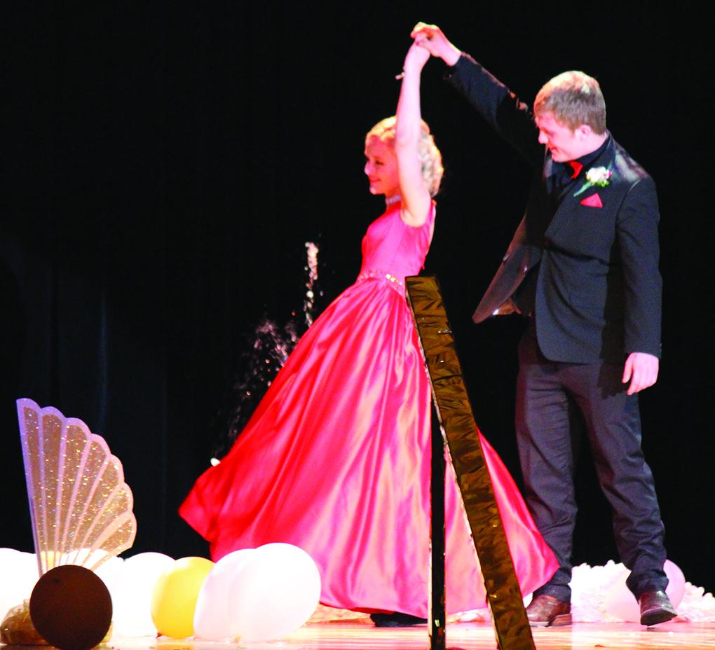 Mitchell Foss gives Larissa Schoenborn a twirl at Mahnomen's 2017 High School Prom.