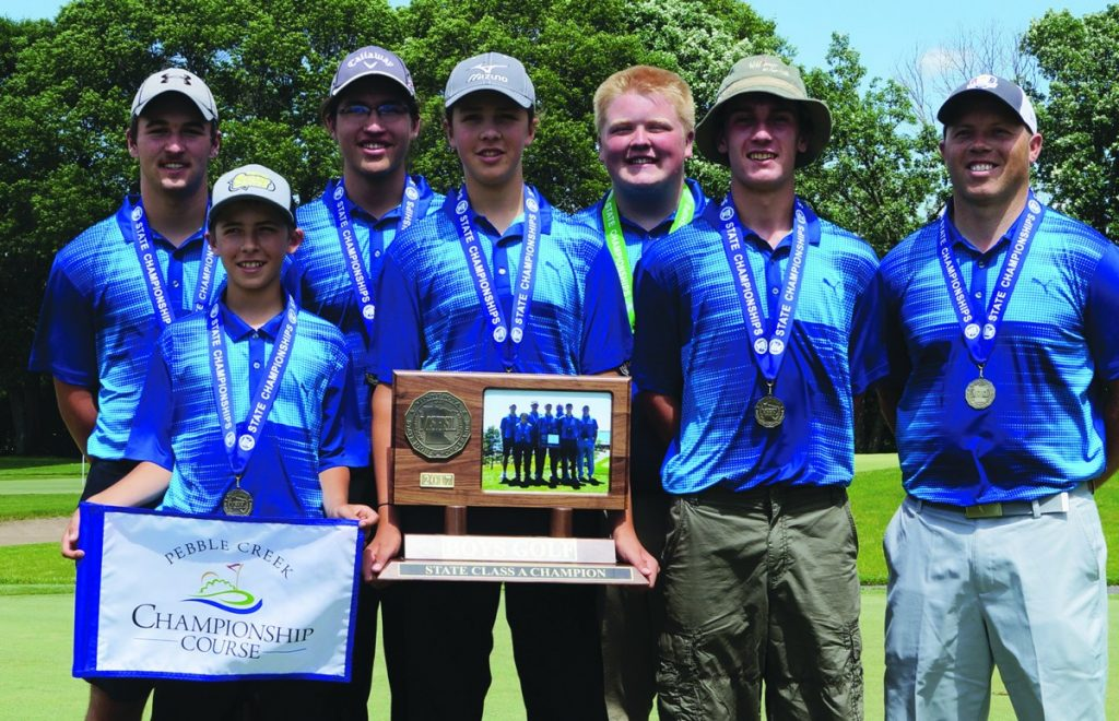 Congratulations to the Mahnomen-Waubun Boys Golf Team, now State Champions. Left to right are Jon Starkey, Loden Clark, Lucas Clark-Burnette, Jycee Clark, Brady Liebl, Trenten Johnson and Coach Steve McMullen.